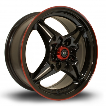 Rota Wheels - Auto-X Black Red Lip (15 Zoll)